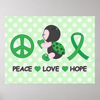 Ladybug Peace Love Hope Green Awareness Ribbon Poster