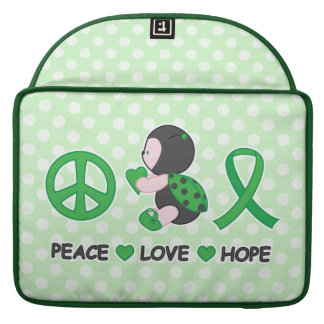 Ladybug Peace Love Hope Green Awareness Ribbon Sleeves For MacBook Pro