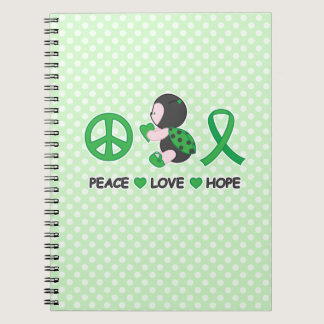 Ladybug Peace Love Hope Green Awareness Ribbon Spiral Notebook