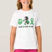 Ladybug Peace Love Hope Green Awareness Ribbon T-Shirt