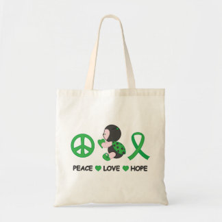 Ladybug Peace Love Hope Green Awareness Ribbon Tote Bag
