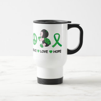 Ladybug Peace Love Hope Green Awareness Ribbon Travel Mug