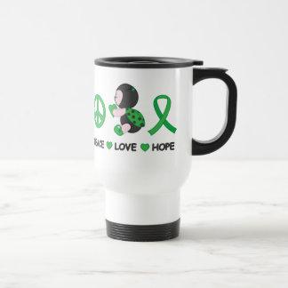 Ladybug Peace Love Hope Green Awareness Ribbon Travel Mug