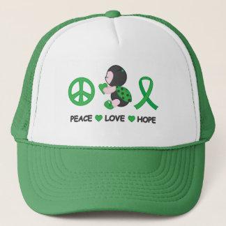 Ladybug Peace Love Hope Green Awareness Ribbon Trucker Hat