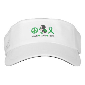 Ladybug Peace Love Hope Green Awareness Ribbon Visor