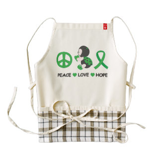Ladybug Peace Love Hope Green Awareness Ribbon Zazzle HEART Apron