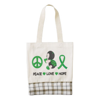 Ladybug Peace Love Hope Green Awareness Ribbon Zazzle HEART Tote Bag