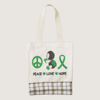 Ladybug Peace Love Hope Green Awareness Ribbon Zazzle HEART Tote Bag