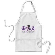 Ladybug Peace Love Hope Purple Awareness Ribbon Adult Apron