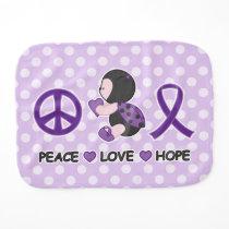 Ladybug Peace Love Hope Purple Awareness Ribbon Baby Burp Cloth
