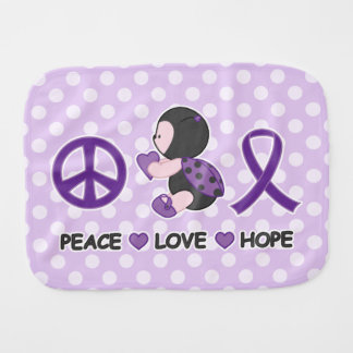 Ladybug Peace Love Hope Purple Awareness Ribbon Baby Burp Cloth
