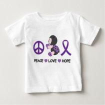 Ladybug Peace Love Hope Purple Awareness Ribbon Baby T-Shirt