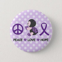 Ladybug Peace Love Hope Purple Awareness Ribbon Button