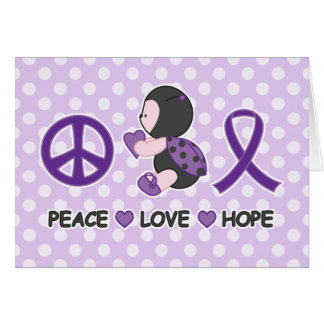 Ladybug Peace Love Hope Purple Awareness Ribbon Card