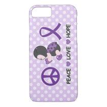 Ladybug Peace Love Hope Purple Awareness Ribbon iPhone 8/7 Case