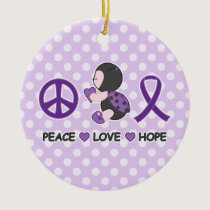 Ladybug Peace Love Hope Purple Awareness Ribbon Ceramic Ornament