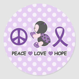 Ladybug Peace Love Hope Purple Awareness Ribbon Classic Round Sticker