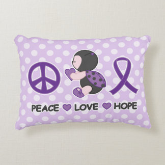 Ladybug Peace Love Hope Purple Awareness Ribbon Decorative Pillow