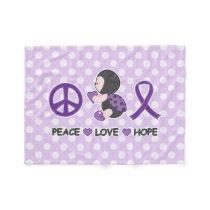 Ladybug Peace Love Hope Purple Awareness Ribbon Fleece Blanket