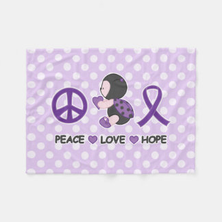 Ladybug Peace Love Hope Purple Awareness Ribbon Fleece Blanket