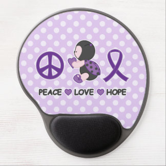 Ladybug Peace Love Hope Purple Awareness Ribbon Gel Mouse Pad