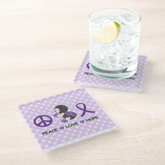 Ladybug Peace Love Hope Purple Awareness Ribbon Glass Coaster