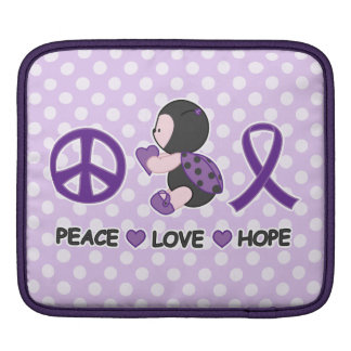 Ladybug Peace Love Hope Purple Awareness Ribbon iPad Sleeve