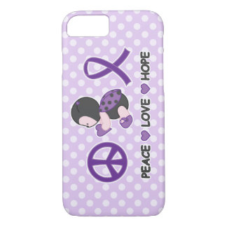 Ladybug Peace Love Hope Purple Awareness Ribbon iPhone 8/7 Case