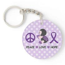 Ladybug Peace Love Hope Purple Awareness Ribbon Keychain