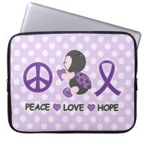 Ladybug Peace Love Hope Purple Awareness Ribbon Laptop Sleeve