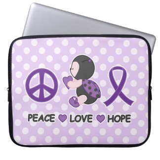 Ladybug Peace Love Hope Purple Awareness Ribbon Laptop Sleeve