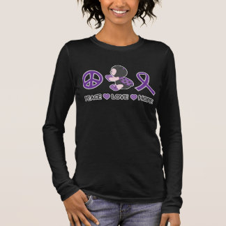 Ladybug Peace Love Hope Purple Awareness Ribbon Long Sleeve T-Shirt