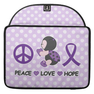 Ladybug Peace Love Hope Purple Awareness Ribbon MacBook Pro Sleeve