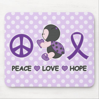 Ladybug Peace Love Hope Purple Awareness Ribbon Mouse Pad