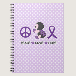 Ladybug Peace Love Hope Purple Awareness Ribbon Notebook
