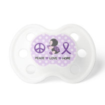 Ladybug Peace Love Hope Purple Awareness Ribbon Pacifier