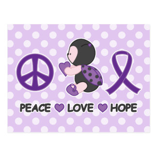 Ladybug Peace Love Hope Purple Awareness Ribbon Postcard