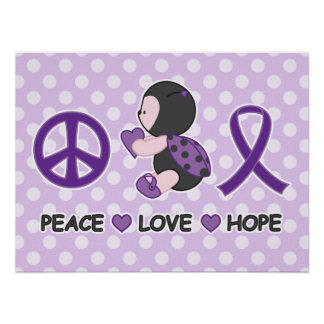 Ladybug Peace Love Hope Purple Awareness Ribbon Poster