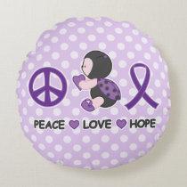 Ladybug Peace Love Hope Purple Awareness Ribbon Round Pillow