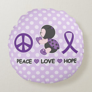 Ladybug Peace Love Hope Purple Awareness Ribbon Round Pillow