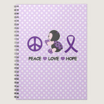 Ladybug Peace Love Hope Purple Awareness Ribbon Spiral Notebook