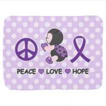 Ladybug Peace Love Hope Purple Awareness Ribbon Stroller Blanket