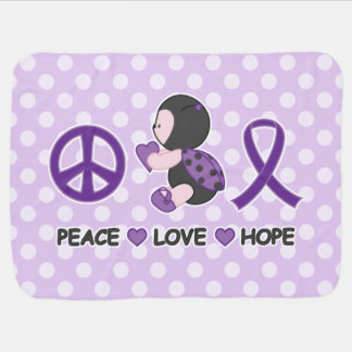 Ladybug Peace Love Hope Purple Awareness Ribbon Stroller Blanket