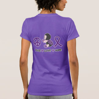 Ladybug Peace Love Hope Purple Awareness Ribbon T-Shirt