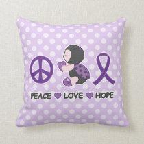 Ladybug Peace Love Hope Purple Awareness Ribbon Throw Pillow
