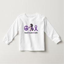 Ladybug Peace Love Hope Purple Awareness Ribbon Toddler T-shirt