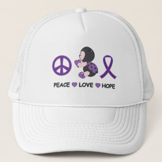 Ladybug Peace Love Hope Purple Awareness Ribbon Trucker Hat