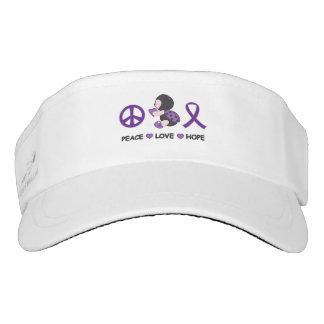 Ladybug Peace Love Hope Purple Awareness Ribbon Visor