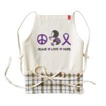 Ladybug Peace Love Hope Purple Awareness Ribbon Zazzle HEART Apron