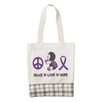 Ladybug Peace Love Hope Purple Awareness Ribbon Zazzle HEART Tote Bag